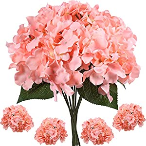 WILLBOND 20 Packs Artificial Hydrangea Head Home Garden Party Winter Floral Decor Silk Flowers with 20 Pieces Stem and Leaf for Wedding Centerpieces Decoration DIY Bouquets