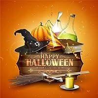 Qinunipoto 背景布 ハロウィン happy halloween 撮影用 ほうき かぼちゃ ろうそく ガラス瓶 写真撮影用 写真の背景 写真 商品/人物撮影 カスタマイズ可能な背景 写真館 自宅用 背景幕 ビニール 3x3m