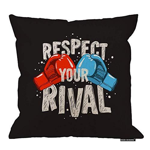 Lsjuee Funda de Almohada de Boxeo, Cita de Boxeo Motivacional Respeta a tu Rival Fundas de cojín de Lino de algodón Fundas de Almohada Decorativas para el hogar 18x18 Pulgadas Boxing Pillow Cover,Mo