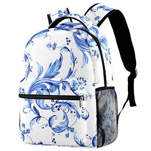 Zaino Casual Motivo floreale blu Zaino Scuola Impermeabile Viaggio Borsa Unisex 29.4x20x40cm