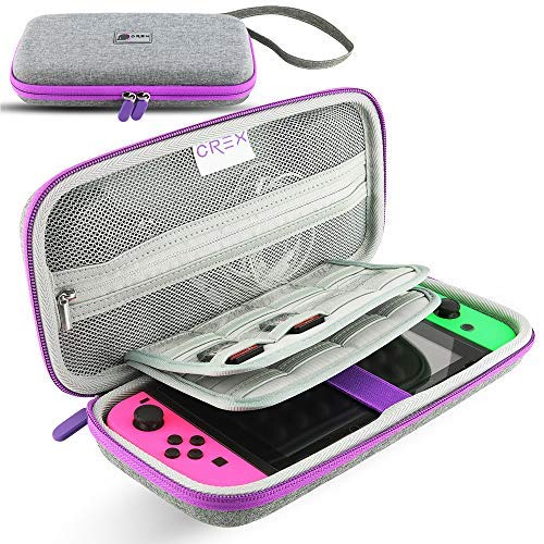 CRex Gaming's Nintendo Switch Travel Carrying Case Will Keep Your Switch Safe and Protected, This Carry Case Stores 16 Games Designed in Gray/Purple/Pink