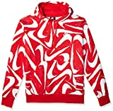 Nike Men's Sportswear Club Pull Over Hoodie All Over Swoosh Print, University Red/University Red/(White), Large