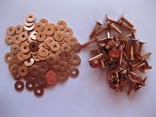 50Kupfer-Sattlernieten 10Gauge x 1/2mit Unterlegscheiben Leder Gürteltasche Kunsthandwerk