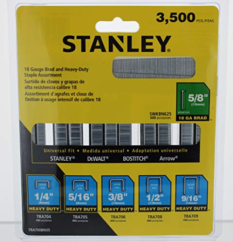 Stanley, TRA700BN35, Staple/Brad Asst, estrecho, 27/64, PK3500