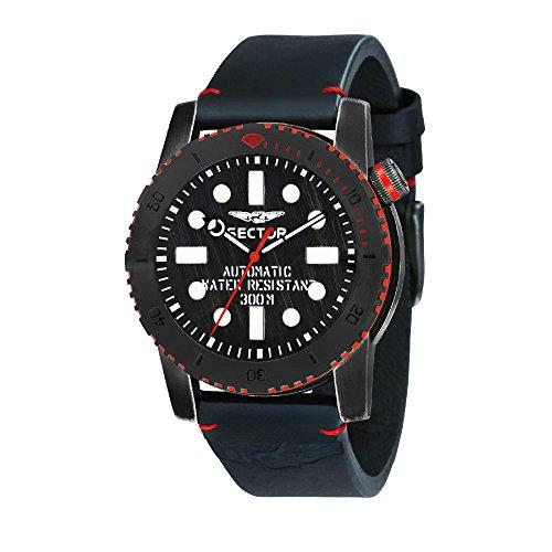 Sector Herren Analog Automatik Smart Watch Armbanduhr mit Leder Armband R3221598001