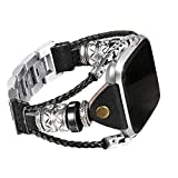 bayite Leather Bands Compatible Fitbit Versa/Versa 2, Handmade Replacement Bracelet Straps Women Men, Black Band