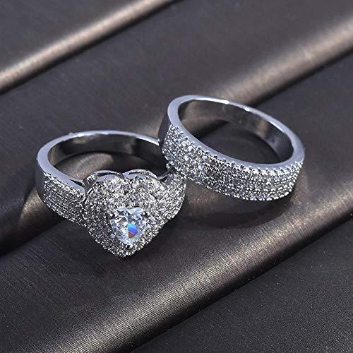 LXBIN Sterling Silver Bridal Set Engagement Wedding Ring Bands