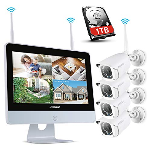 ANNKE 1080P Wireless System, 4CH FHD Wi-Fi NVR Video Surveillance System with 12''LCD Monitor, Automatic Screen Saver, 4X 1080P Outdoor IP Camera with IR Night Vision, 1TB Hard Drive Included