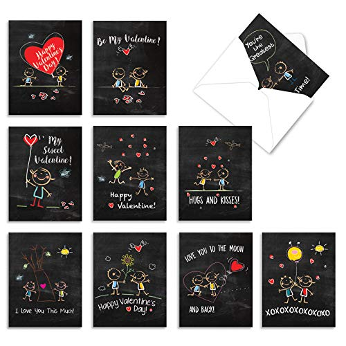 The Best Card Company - 10 Boxed Valentine Note Cards with Envelopes - Loving, Heartfelt Assorted Greeting Cards for Valentine's Day (4 x 5.12 Inch) - Chalkboard Love M5655VDB-B1x10