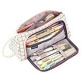 TOYESS Trousse à crayons portable de grande capacité en toile imperméable avec poignée pour étudiant, bureau, collège, collège, collège, lycée, noir à carreaux