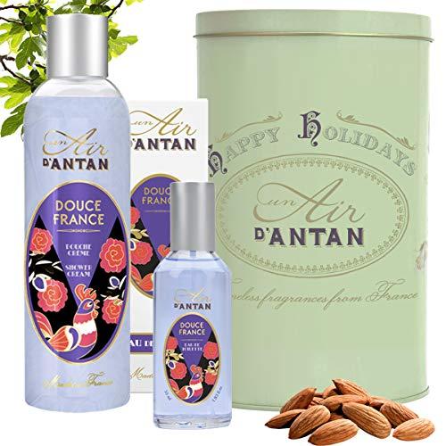Perfume Set 1 Shower Gel (250ml) + 1 Eau de Toilette (55ml) Un Air d'Antan/Perfume: Almond, Fig, Vetiver/Paraben Free/Body Wash/Fresh Perfume Atomiser/Mum Gifts/Birthday Gift/Gift For Her