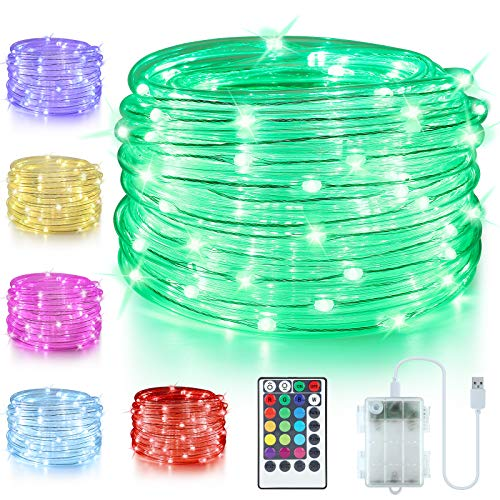 LED Rope Lights Battery Operated, 33ft 100 LED 16 Color Changing Outdoor Rope Lights USB Powered, Waterproof Fairy Lights with Remote Timer for Bedroom Garden Patio Balcony Christmas