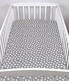 BABYLUX Kinder Baby SPANNBETTLAKEN Spannbetttuch Baumwolle 60x120 70x140 Sterne (70x140 cm, 95. Herzen Grau)