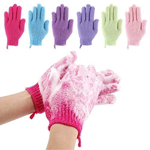 Lot de 6 paires de gommage de bain pour le corps et le spa de la peau morte pour enlever les cellules mortes cadeaux pour femmes et hommes