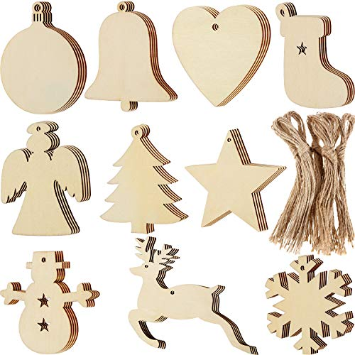 Blulu 100 Pieces Christmas Wooden Ornaments Round Wood Slices Wood Snowflake Angel Star Shape Christmas Tree Hanging Embellishments with 100 Pieces Cords (Style 1)
