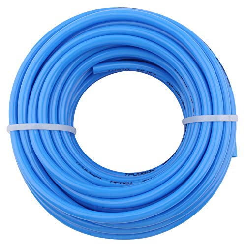 DERPIPE Pneumatic Hose 6mm OD 4mm ID Blue Polyurethane PU Tubing Air Compressor Pipe 10Meter (32.8ft)