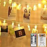 Mitening Lichterkette mit Klammern für Fotos, 8 Modi 50 LED Fotoclips Lichterketten...