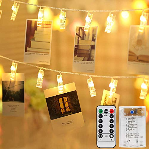 Mitening 40 LEDs Foto Clip, 8 Modalità Luci per Foto luci della stringa Batteria/USB Alimentato Polaroid Mollette Lucine LED Decorative per Camere Natale,Matrimonio,festa di compleanno Bianco Caldo