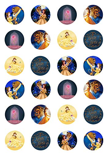 24 Edible Beauty and The Beast cupcake Toppers, birthday party celebration