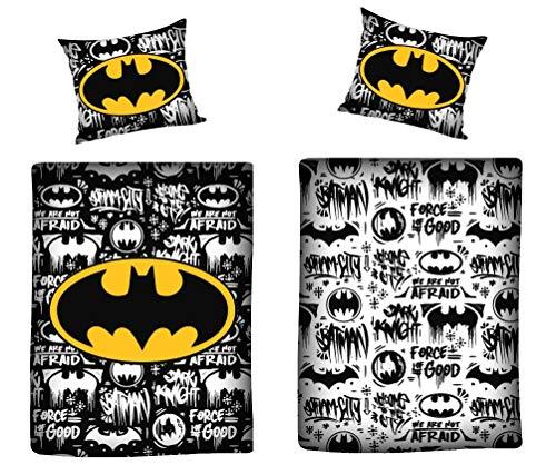 NEW Official DC Batman Single Duvet Quilt Linen Cover Set 100% Soft Cotton Brushed Reversible (Batman, Single Bed)