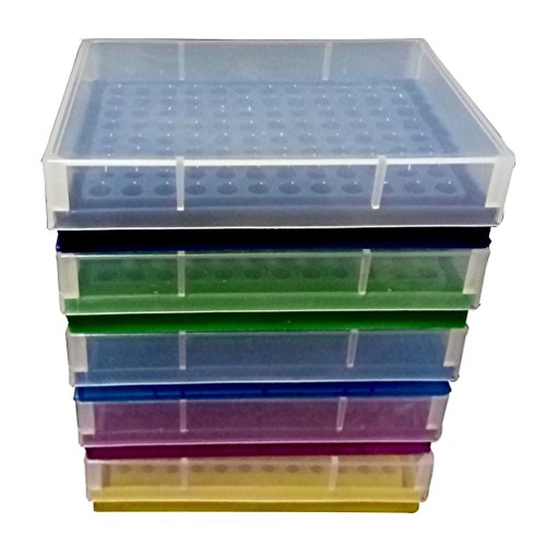 PUL FACTORY Plastic 96-Well PCR Rack for 0.2ml Micro Centrifuge tube, Assorted colors, Pack of 5