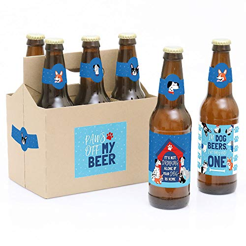 Pawty Like a Puppy - Dog Baby Shower or Birthday Party Decorations for Women and Men - 6 Beer Bottle Label Stickers and 1 Carrier