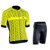 メンズサイクリングジャージー半袖、夏のメンズクイックドライ通気性マウンテンバイク服セット、3つの伸縮性リアポケット、フルジッパー、ジェルパッド、アンチスキップストリップ (Color : Yellow 3, Size : D(L))