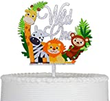 Wild One Cartoon Animals Cake Topper Reusable Acrylic for First Birthday Party Decoration Supplies(Silver Glittery)