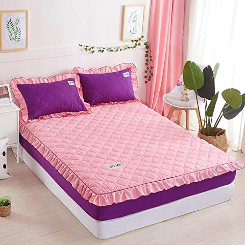 Double Mattress Protectorbed Sheet Single Piece Cotton-Filled Thick Mattress Protection Cover Non-Slip Fixed Bed Cover All-Inclusive Dust Cover-Jade Pin Purple_150X200 [Padded Cotton Bed + Padded Co