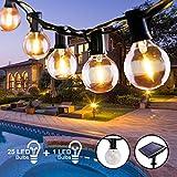 Guirnalda Luces Exterior Solar, Qxmcov 7.6 m Cadena de Luz 25 G40 LED Bombillas con 1 de Carga, Guirnaldas Luminosas Exterior e Interior Decorativas para Jardin TerrazaHabitacion Fiestas Navidad