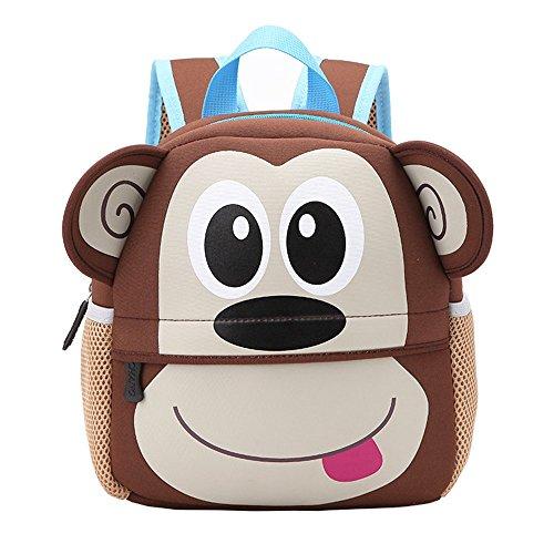 Kinderrucksack Bunter Leichter und Moderner Babyrucksack Süßer Cartoon Tier Design auf der Schultasche für Kinder 2-5 Jahre Alt für Junge und Mädchen (Affe, 21*8*26 cm)