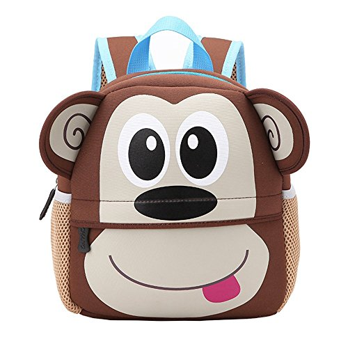 Kinderrucksack Bunter Leichter und Moderner Babyrucksack Süßer Cartoon Tier Design auf der Schultasche für Kinder 2-5 Jahre Alt für Junge und Mädchen (AFFE)