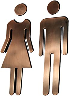 Black Menba 7.8 Inch Adhesive Acrylic Toilet Symbol Men's and Women's Bathroon Sign(Bronze)