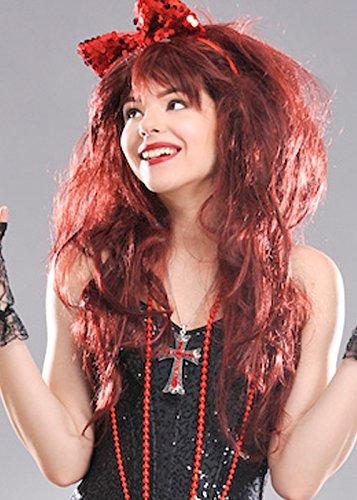 80 s Style Madonna rouge joyau Cross Necklace