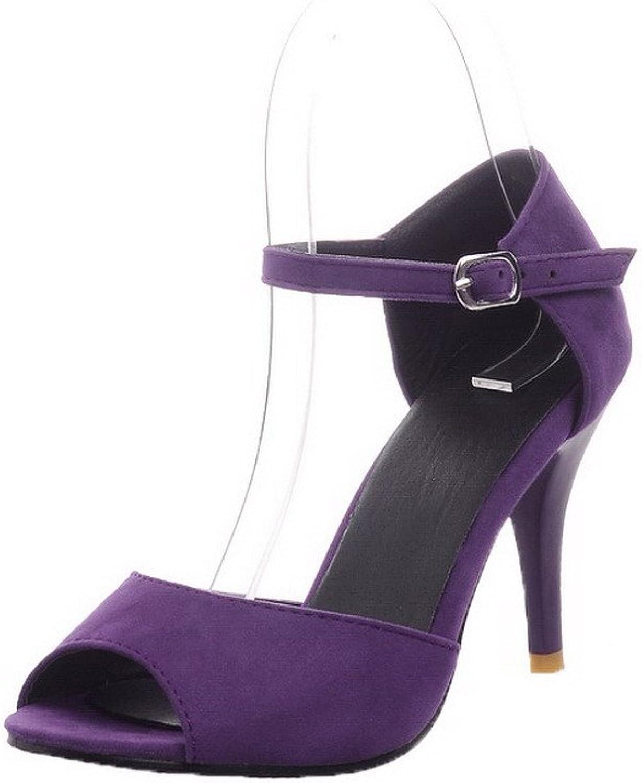AmoonyFashion Women's Solid Frosted High-Heels Peep-Toe Buckle Sandals, BUSLS005529