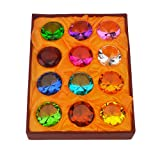Geschenk-Box Set 12schöne Geburtssteine Briefbeschwerer aus Glas Diamant + Rot String Armband...