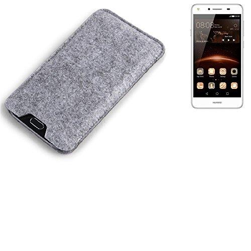K-S-Trade® Filz Schutz Hülle Für Huawei Y5 II Dual-SIM Schutzhülle Filztasche Filz Tasche Case Sleeve Handyhülle Filzhülle Grau