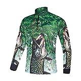 Xinyang Sports Men's UPF 40+ Long Sleeve T-Shirt Performance HD Print Zip Quick Dry Fishing Jersey (Green, XXX-Large)