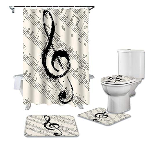 HGFHKL MusikAnmerkungenNoten Duschvorhang Toilettensitzbezug -Set Wc Zubehör Mat Badezimmer -Dekor Bad Curtains4 Stücke/Satz