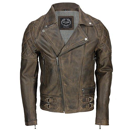 Xposed Chaqueta de motorista de piel auténtica suave vintage para hombre, color negro lavado, marrón antiguo, marrón óxido, con cremallera, elegante casual (Ropa)