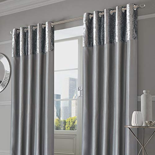 """Sienna Pair of Crushed Velvet Band Curtains Fully Lined Eyelet Ring Top Faux Silk Window Treatment Panels - Silver Grey, Width 90"""" x Drop 90"""