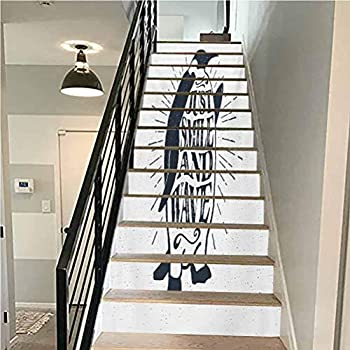 Stair Riser Decals Self-Adhesive Stair Murals Quote Penguin Waving His Flipper and Just Smile and Wave Te for Walls Kitchen Stair Decals Home Decorations W43.3 x H7.08 Inch x13PCS