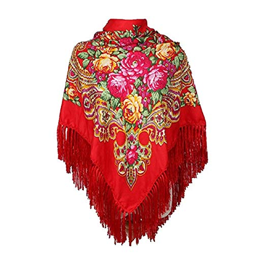 Classic Red Russian Shawl Traditional Ukrainian Scarf and Wrap With Tassel For Women
