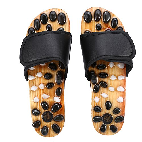 Zapatillas de masaje de pies, reflexología naturopatía acupuntura fascitis plantar cuidado de la salud zapatos de masaje para reducir el dolor de pies para hombres y mujeres (negro 38)