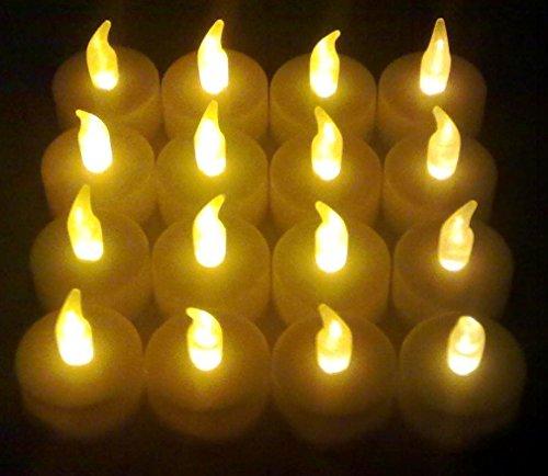 16x LED Teelichter flackernd inkl. Batterien CR2032, flammenlose LED Kerzen mit Flackereffekt, iapyx®