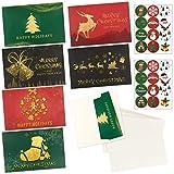 24 Tarjetas de Felicitación Navidad 6 Diseños con 24 Sobres y 24 Pegatinas Navideñas