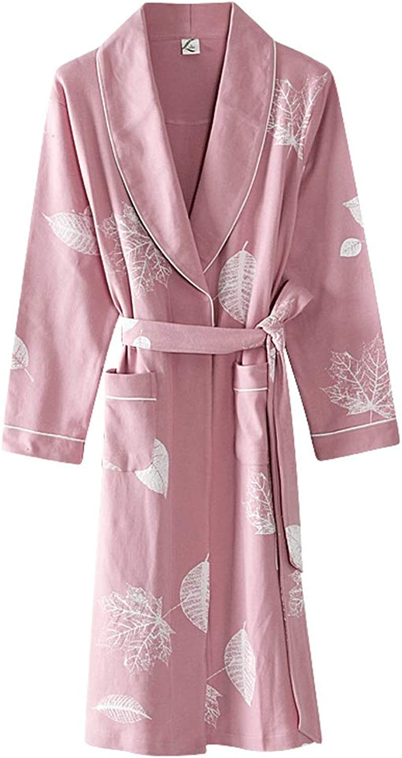HONGNA Spring and Autumn Couple Nightgown LongSleeved Long Bathrobes Cotton Loose Pajamas (color   Lady Powder, Size   M)