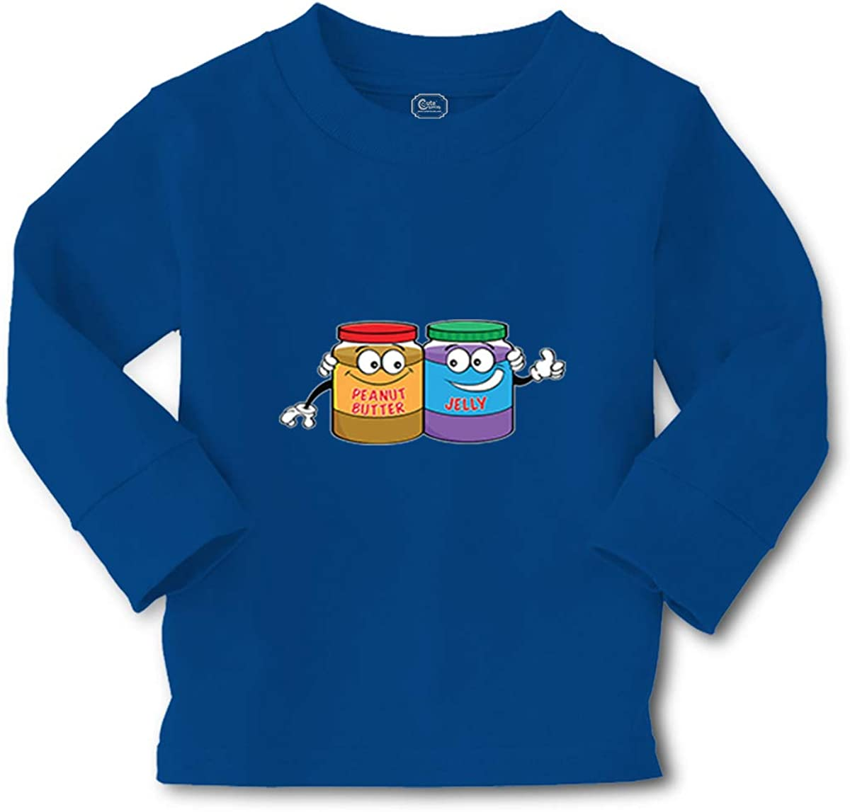 Kids Long Sleeve T Shirt Peanut Butter - Jelly Cotton Boy & Girl Clothes Funny Graphic Tee Royal Blue Design Only 5 6T