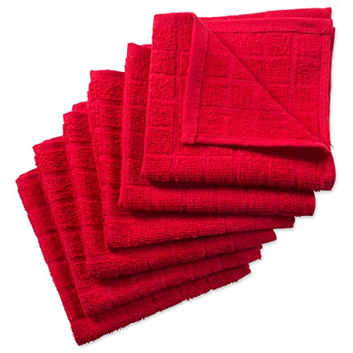DII Cotton Terry Windowpane Dish Cloths, 12 x 12' Set of 6, Machine Washable and Ultra Absorbent Kitchen Bar Towels-Solid Red