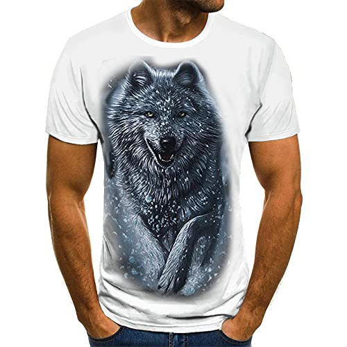 HOHHJFGG Wolf 3D printed T-shirt summer men's casual short-sleeved round neck top cool street T-shirt